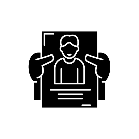 Personnel management black icon, concept vector sign on isolated background. Personnel management illustration, symbol Illustration