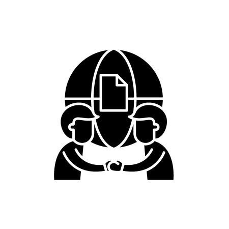 International partnership black icon, concept vector sign on isolated background. International partnership illustration, symbol Illustration