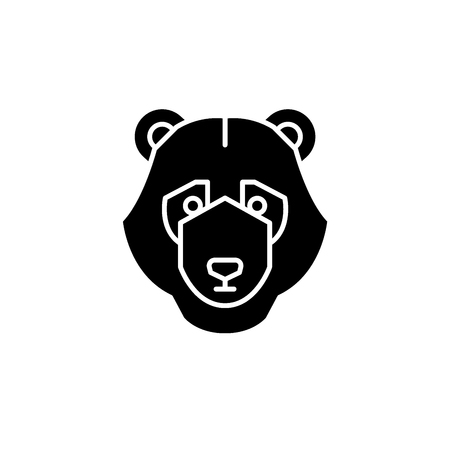 Bear trend black icon, concept vector sign on isolated background. Bear trend illustration, symbol Illustration