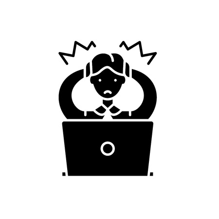 Schwarze Ikone der falschen Entscheidung, Konzeptvektorzeichen auf lokalisiertem Hintergrund. Falsche Entscheidung Abbildung, Symbol