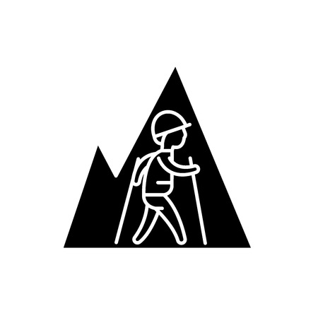 Hiking travel black icon, concept vector sign on isolated background. Hiking travel illustration, symbol