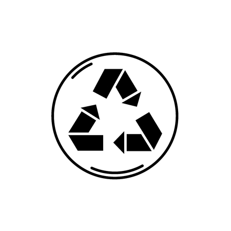 Recycling black icon, concept vector sign on isolated background. Recycling illustration, symbol Illustration