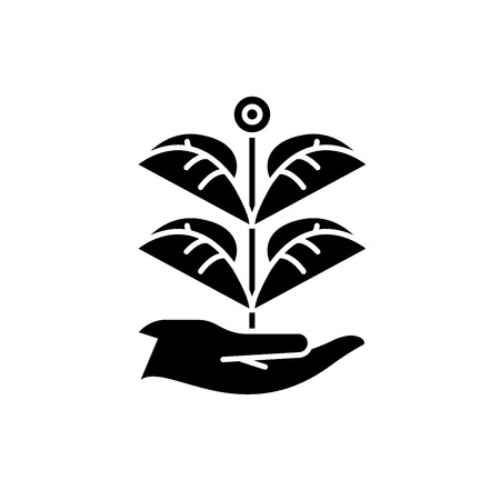 Private garden black icon, concept vector sign on isolated background. Private garden illustration, symbol  イラスト・ベクター素材