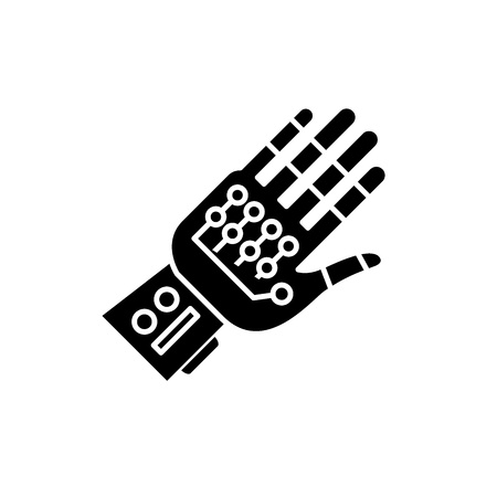 Cyber ??gloves black icon, concept vector sign on isolated background. Cyber ??gloves illustration, symbol