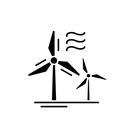 Wind power black icon, concept vector sign on isolated background. Wind power illustration, symbol