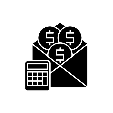 Salary black icon, concept vector sign on isolated background. Salary illustration, symbol