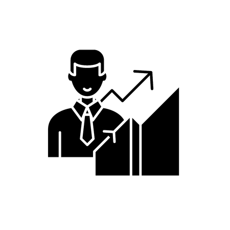 New career black icon, concept vector sign on isolated background. New career illustration, symbol