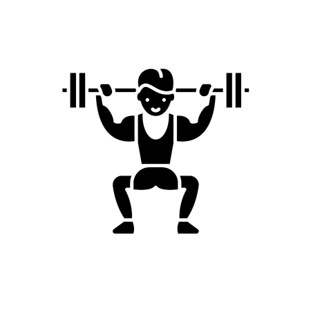 Power lifting black icon, concept vector sign on isolated background. Power lifting illustration, symbol