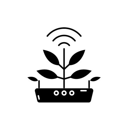Agro technology black icon, concept vector sign on isolated background. Agro technology illustration, symbol Foto de archivo - 127266844