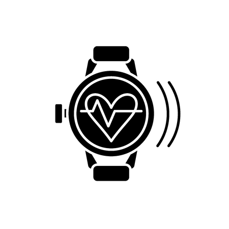 Smart watch with pulse black icon, concept vector sign on isolated background. Smart watch with pulse illustration, symbol Banque d'images - 113531129
