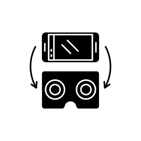 Virtual glasses for gadgets black icon, concept vector sign on isolated background. Virtual glasses for gadgets illustration, symbol