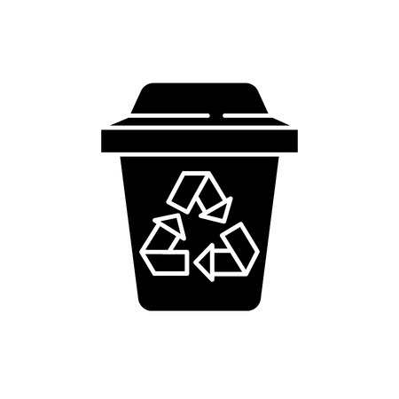 Garbage sorting black icon, concept vector sign on isolated background. Garbage sorting illustration, symbol Ilustrace