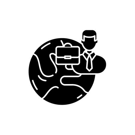 Icono negro de negocios internacionales, concepto de vector de señal sobre fondo aislado. Ilustración de negocios internacionales, símbolo
