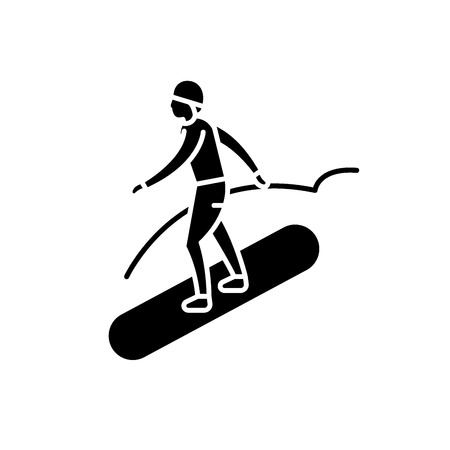 Snowboard black icon, concept vector sign on isolated background. Snowboard illustration, symbol Vetores