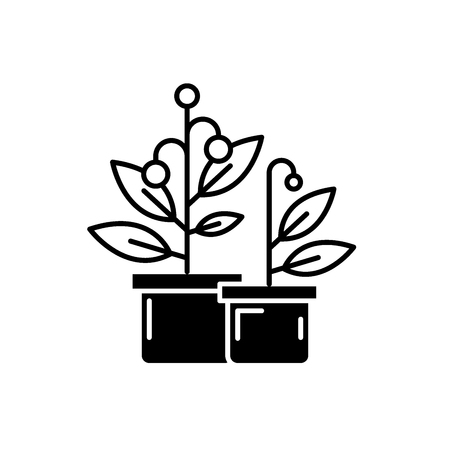 Potted house plants black icon, concept vector sign on isolated background. Potted house plants illustration, symbol