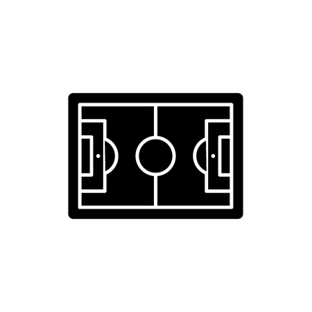 Football play field  black icon, concept vector sign on isolated background. Football play field  illustration, symbol Illustration