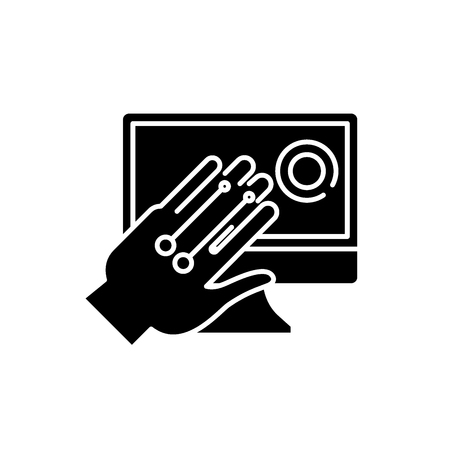 Gesture recognition system black icon, concept vector sign on isolated background. Gesture recognition system illustration, symbol Vettoriali