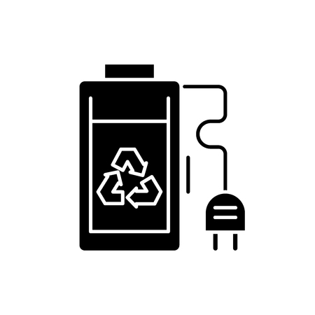 Rechargeable battery black icon, concept vector sign on isolated background. Rechargeable battery illustration, symbol  イラスト・ベクター素材
