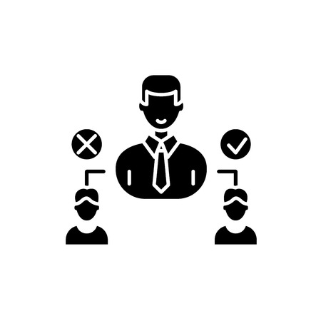 Social hierarchy black icon, concept vector sign on isolated background. Social hierarchy illustration, symbol Ilustração