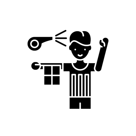Referee black icon, concept vector sign on isolated background. Referee illustration, symbol