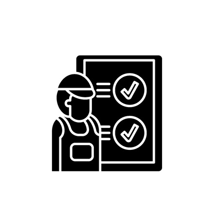 Technical inspection black icon, concept vector sign on isolated background. Technical inspection illustration, symbol Illustration