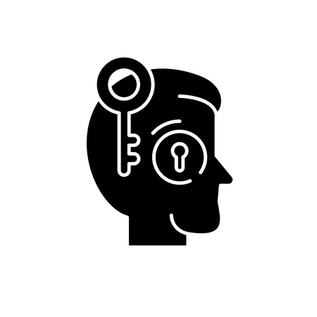 Key employee black icon, concept vector sign on isolated background. Key employee illustration, symbol