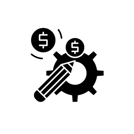 Profitable solution black icon, concept vector sign on isolated background. Profitable solution illustration, symbol Imagens - 127266910