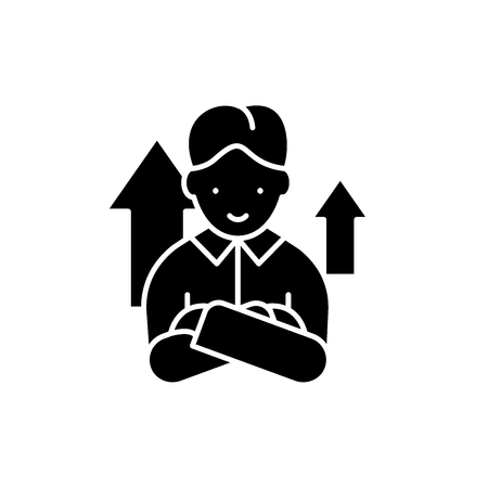 Starter black icon, concept vector sign on isolated background. Starter illustration, symbol