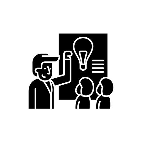 Idea presentation black icon, concept vector sign on isolated background. Idea presentation illustration, symbol