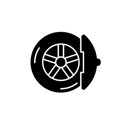 Brake pads black icon, concept vector sign on isolated background. Brake pads illustration, symbol