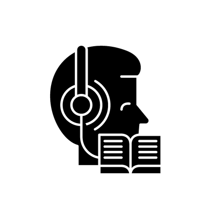Listening to music and reading black icon, concept vector sign on isolated background. Listening to music and reading illustration, symbol Illustration