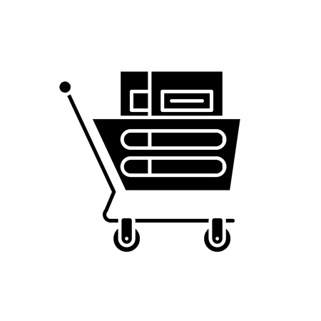Wheelbarrow in the supermarket black icon, concept vector sign on isolated background. Wheelbarrow in the supermarket illustration, symbol