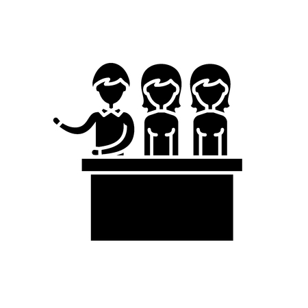 Jury trial black icon, concept vector sign on isolated background. Jury trial illustration, symbol