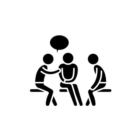 Mentorship black icon, concept vector sign on isolated background. Mentorship illustration, symbol
