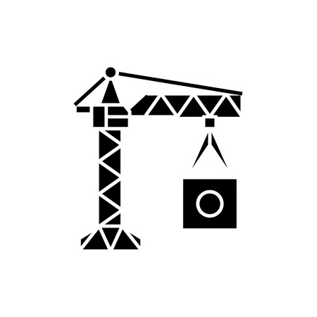 Manufacturing crane black icon, concept vector sign on isolated background. Manufacturing crane illustration, symbol  イラスト・ベクター素材