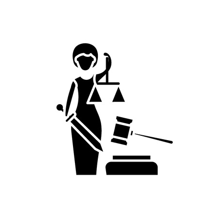 Justice black icon, concept vector sign on isolated background. Justice illustration, symbol Illustration