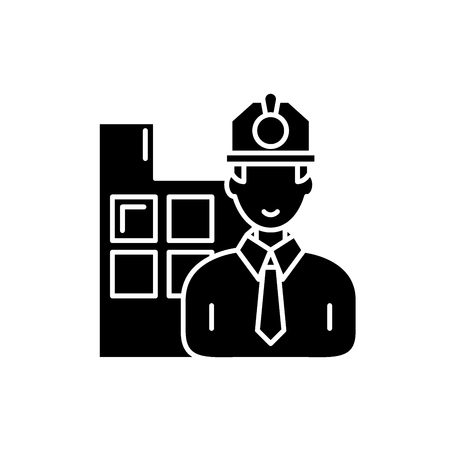 Construction engineer black icon, concept vector sign on isolated background. Construction engineer illustration, symbol