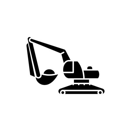 Excavator works black icon, concept vector sign on isolated background. Excavator works illustration, symbol Illusztráció