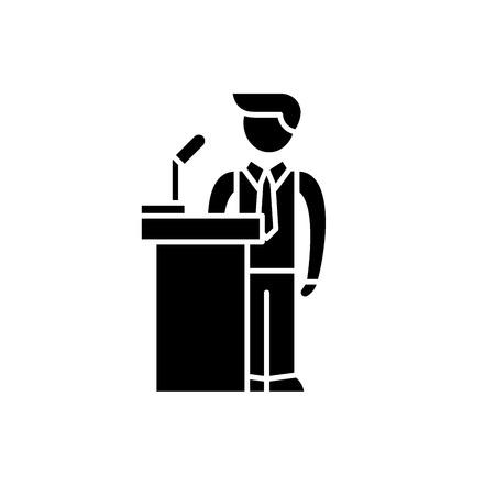 Public performance black icon, concept vector sign on isolated background. Public performance illustration, symbol Stock Illustratie