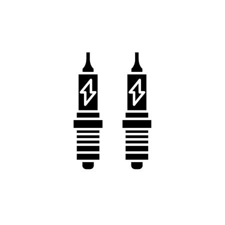 Spark plug black icon, concept vector sign on isolated background. Spark plug illustration, symbol Çizim