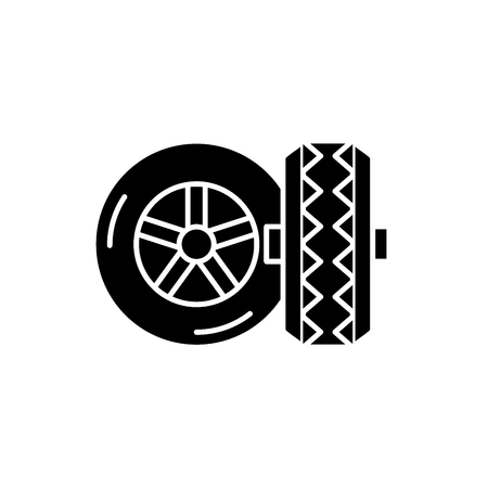 Banden zwart pictogram, concept vector teken op geïsoleerde achtergrond. Banden illustratie, symbool
