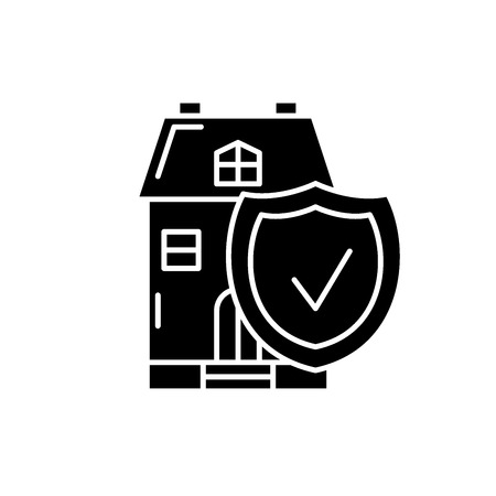 Real estate insurance black icon, concept vector sign on isolated background. Real estate insurance illustration, symbol