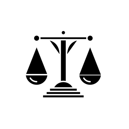 Scales of justice black icon, concept vector sign on isolated background. Scales of justice illustration, symbol