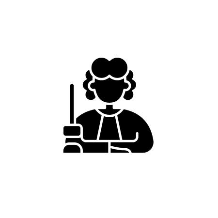 Judge black icon, concept vector sign on isolated background. Judge illustration, symbol Illustration