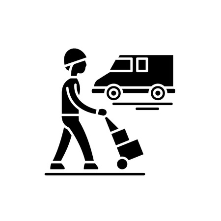 Express logistics black icon, concept vector sign on isolated background. Express logistics illustration, symbol