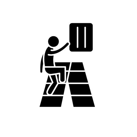 Gradual development black icon, concept vector sign on isolated background. Gradual development illustration, symbol