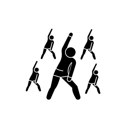 Group fitness black icon, concept vector sign on isolated background. Group fitness illustration, symbol Illustration