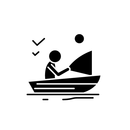 Good fishing black icon, concept vector sign on isolated background. Good fishing illustration, symbol Foto de archivo - 127266978