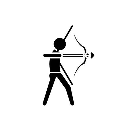 Purposefulness black icon, concept vector sign on isolated background. Purposefulness illustration, symbol Illustration