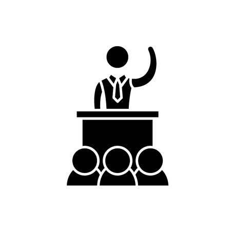 Political performance black icon, concept vector sign on isolated background. Political performance illustration, symbol